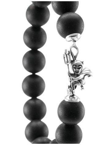 Замечательный стильный браслет из чёрного янтаря с фигуркой чертёнка «Куба», фото , изображение 3