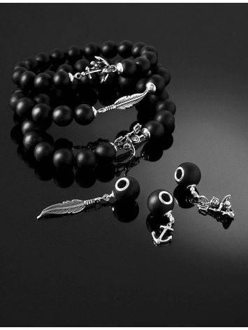 Замечательный стильный браслет из чёрного янтаря с фигуркой чертёнка «Куба», фото , изображение 7