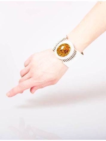 Стильный браслет из натуральной кожи и янтаря «Амазонка», фото , изображение 3