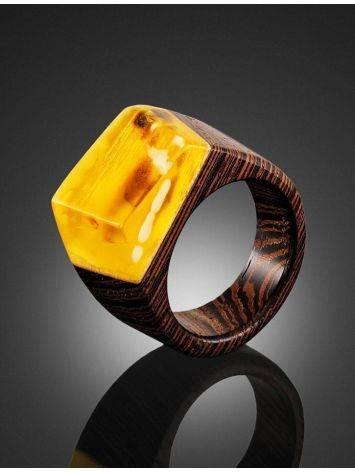 Стильное кольцо из натурального балтийского янтаря и дерева «Индонезия», Размер кольца: 19, фото , изображение 2