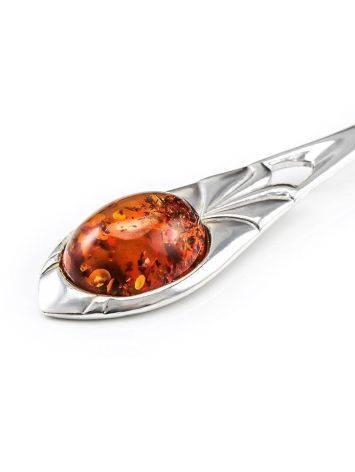 Серебряная ложечка с натуральным балтийским янтарём, фото , изображение 4
