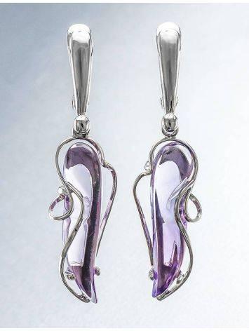 Нежные серебряные серьги с аметистами «Серенада», фото , изображение 2