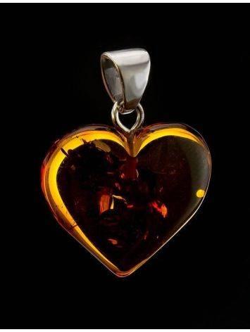 Подвеска в форме сердца из натурального балтийского янтаря коньячного цвета, фото , изображение 2