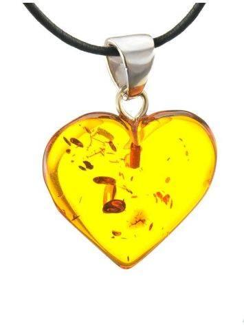 Подвеска в форме сердца из натурального балтийского янтаря коньячного цвета, фото , изображение 3
