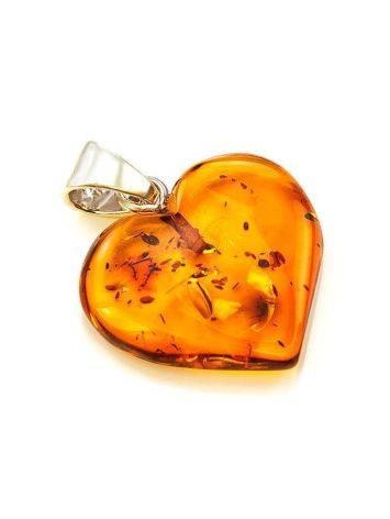 Подвеска в форме сердца из натурального балтийского янтаря коньячного цвета, фото , изображение 5