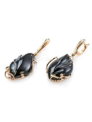Роскошные яркие серьги «Серенада» из золота с чёрным ониксом, фото , изображение 4