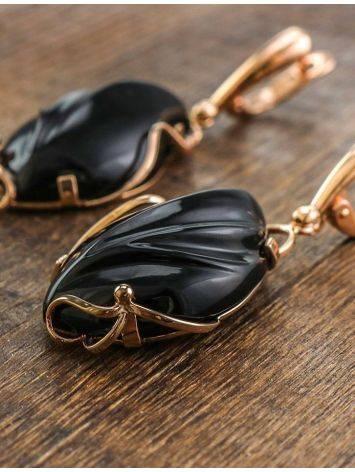 Роскошные яркие серьги «Серенада» из золота с чёрным ониксом, фото , изображение 6