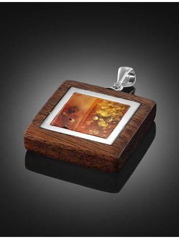Стильная подвеска из натурального янтаря и древесины «Индонезия», фото , изображение 2