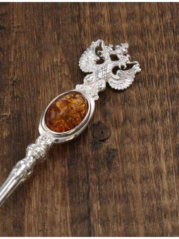 Серебряная ложечка, украшенная вставкой из натурального коньячного янтаря «Императорская», фото , изображение 4