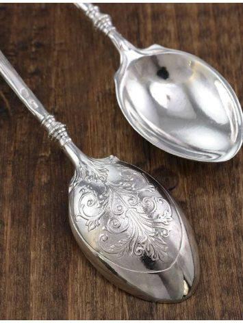 Серебряная ложечка, украшенная вставкой из натурального коньячного янтаря «Императорская», фото , изображение 5