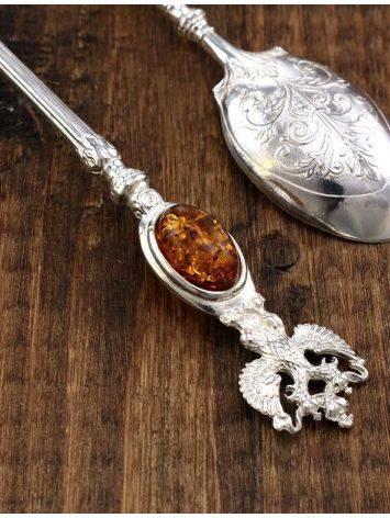 Серебряная ложечка, украшенная вставкой из натурального коньячного янтаря «Императорская», фото , изображение 2