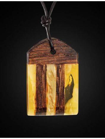 Оригинальная подвеска из натурального балтийского янтаря медового цвета и дерева «Индонезия», фото , изображение 3