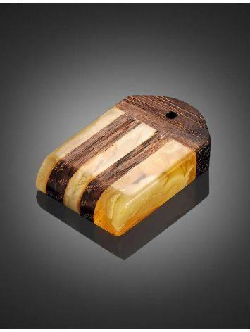 Оригинальная подвеска из натурального балтийского янтаря медового цвета и дерева «Индонезия», фото , изображение 2