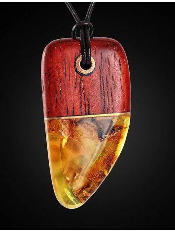 Кулон из натурального балтийского янтаря и дерева «Индонезия», фото , изображение 3