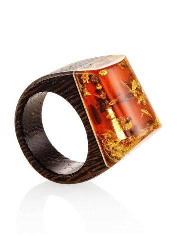 Необычное кольцо в эко-стиле из дерева с натуральным искрящимся янтарём «Индонезия», Размер кольца: 17.5, фото , изображение 3
