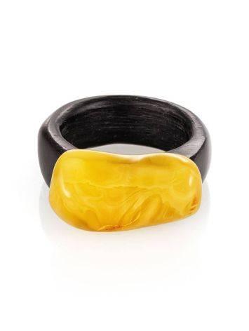 Этническое кольцо из древесины граба с натуральным янтарём «Индонезия», Размер кольца: 19.5, фото , изображение 3