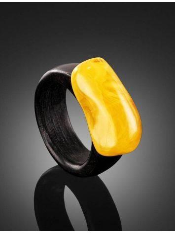 Этническое кольцо из древесины граба с натуральным янтарём «Индонезия», Размер кольца: 19.5, фото , изображение 2