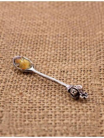Сувенир-талисман для кошелька с балтийским янтарём «Ложка-загребушка», фото , изображение 2