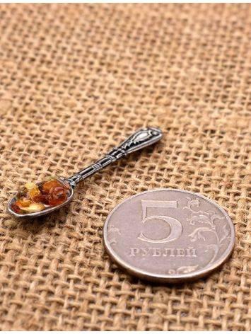 Небольшой сувенир-талисман для кошелька с натуральным балтийским янтарём «Ложка-загребушка», фото , изображение 2