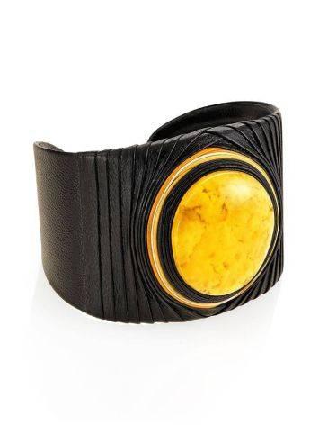 Оригинальный браслет в этническом стиле из кожи и балтийского янтаря с пейзажной текстурой «Нефертити», фото , изображение 4