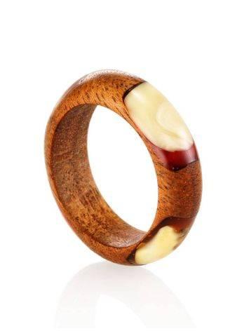 Стильное и необычное кольцо из дерева и натурального янтаря «Индонезия», Размер кольца: 18, фото , изображение 3