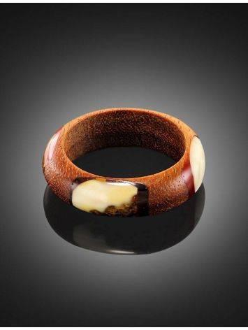 Стильное и необычное кольцо из дерева и натурального янтаря «Индонезия», Размер кольца: 18, фото , изображение 2