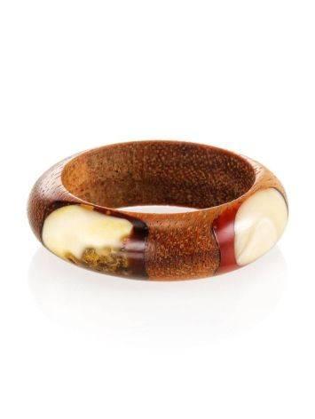 Стильное и необычное кольцо из дерева и натурального янтаря «Индонезия», Размер кольца: 18, фото , изображение 4