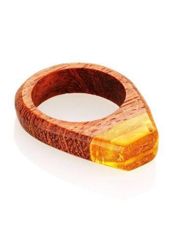 Деревянное кольцо, украшенное лимонным янтарём «Индонезия», Размер кольца: 19, фото , изображение 3