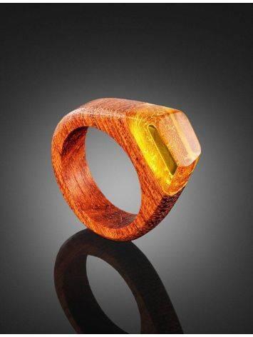 Деревянное кольцо, украшенное лимонным янтарём «Индонезия», Размер кольца: 19, фото , изображение 2