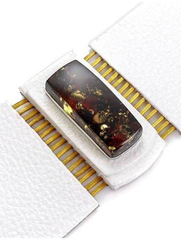 Стильный браслет из белой кожи со вставкой из балтийского янтаря «Амазонка», фото , изображение 5