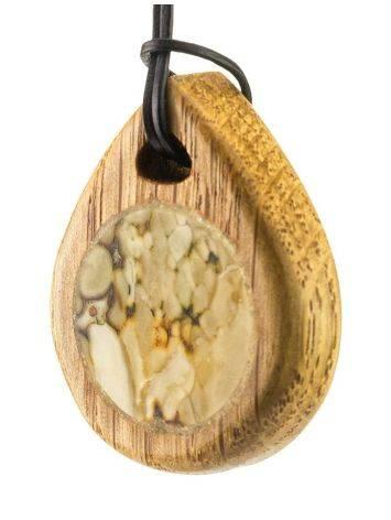 Кулон ручной работы «Индонезия» из натурального балтийского янтаря и дуба, фото , изображение 2