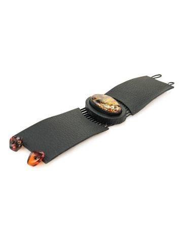 Оригинальный широкий браслет из натуральной кожи с овальной вставкой из сверкающего янтаря «Амазонка», фото , изображение 6