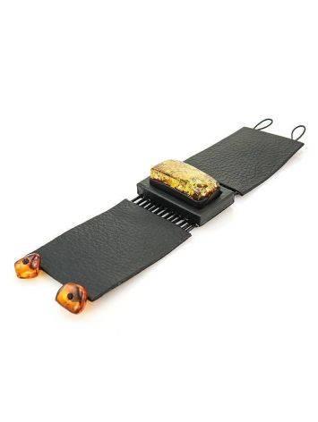 Широкий кожаный браслет с прямоугольной вставкой из натурального сверкающего янтаря «Амазонка», фото , изображение 5