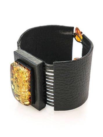 Широкий кожаный браслет с прямоугольной вставкой из натурального сверкающего янтаря «Амазонка», фото , изображение 3