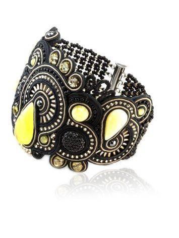 Роскошный плетёный браслет со вставками из натурального медового янтаря «Индия» в чёрном цвете, фото , изображение 3