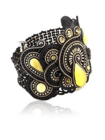 Роскошный плетёный браслет со вставками из натурального медового янтаря «Индия» в чёрном цвете, фото , изображение 4