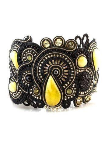 Роскошный плетёный браслет со вставками из натурального медового янтаря «Индия» в чёрном цвете, фото , изображение 2