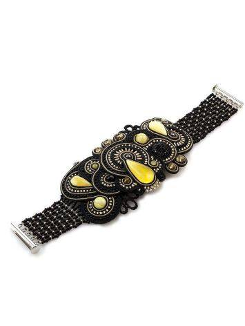Роскошный плетёный браслет со вставками из натурального медового янтаря «Индия» в чёрном цвете, фото , изображение 5