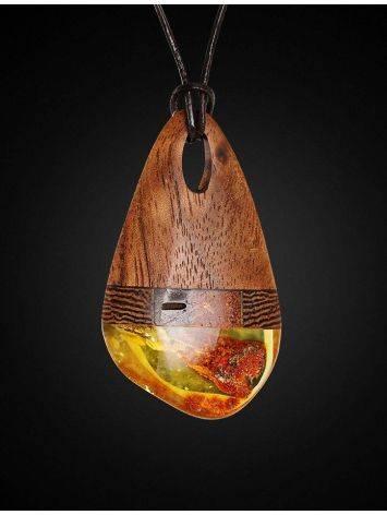 Стильная подвеска из дерева и натурального балтийского янтаря «Индонезия», фото , изображение 3