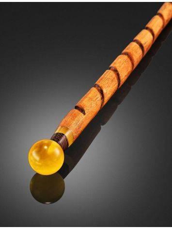 Китайская заколка-палочка для волос из древесины дуба с круглым янтарным наконечником, фото , изображение 2