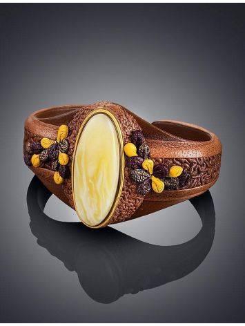 Эффектный браслет из натуральной кожи с пейзажным янтарём «Нефертити», фото , изображение 2