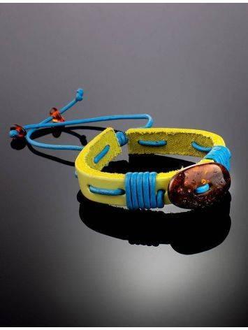 Яркий браслет с цельным янтарём из натуральной кожи «Копакабана», фото , изображение 2