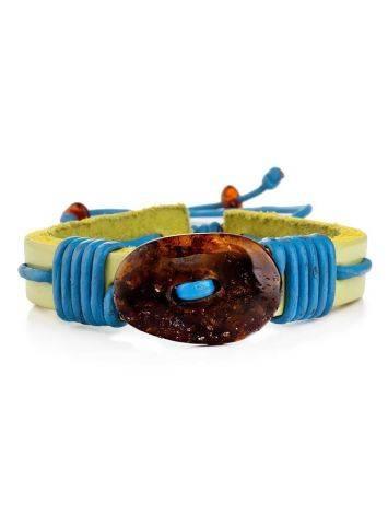 Яркий браслет с цельным янтарём из натуральной кожи «Копакабана», фото , изображение 3