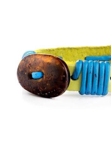 Яркий браслет с цельным янтарём из натуральной кожи «Копакабана», фото , изображение 4