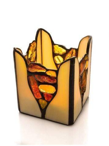 Подсвечник из молочного стекла «Витраж», украшенный цельными кусочками прозрачного янтаря, фото , изображение 4