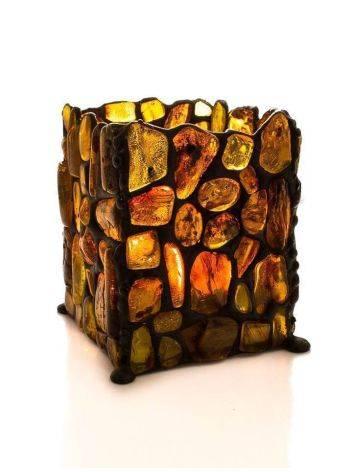 Подсвечник «Витраж», созданный из цельных кусочков прозрачного янтаря, фото , изображение 5