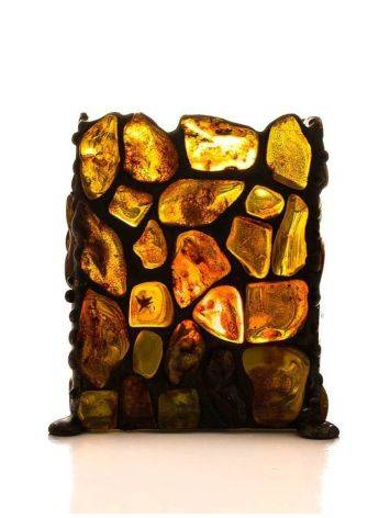 Подсвечник «Витраж», созданный из цельных кусочков прозрачного янтаря, фото , изображение 6