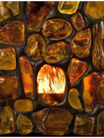 Подсвечник «Витраж», созданный из цельных кусочков прозрачного янтаря, фото , изображение 8