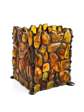 Подсвечник «Витраж», созданный из цельных кусочков прозрачного янтаря, фото , изображение 4
