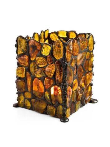 Подсвечник «Витраж», созданный из цельных кусочков прозрачного янтаря, фото , изображение 7